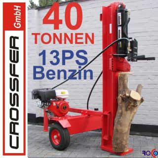 40 Tonnen Holzspalter mit 13 PS Benzin Motor auf Anhaenger 105cm