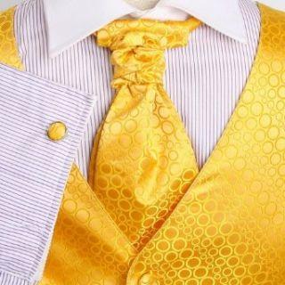 Yellow Polka Dots Mens Designer Tuxedo Vest Set Match