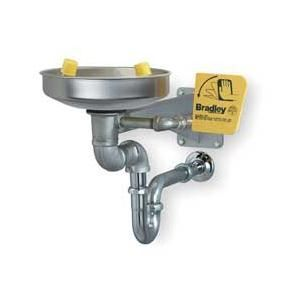 Bradley S19 220BBF Eyewash, Barrier Free Stainless Steel Bowl, Yellow