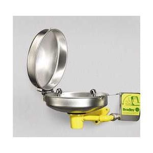 Bradley S19 220DC Eyewash Fixture with Hinged Dust Cover, Yellow