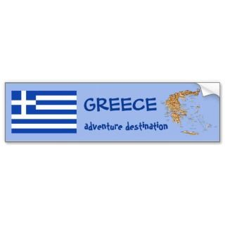 Greece Flag and Map Bumper Sticker