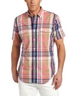 Nautica Mens Short Sleeve Large Scale Plaid Shirt, Desert