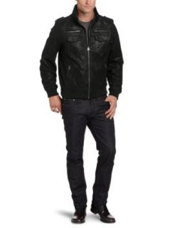 Levis Mens Leather Military Jacket Clothing