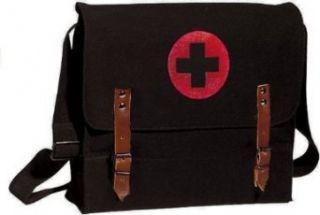 Black NATO Medic Red Cross Canvas Shoulder Bag Clothing