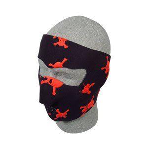 Neoprene Face Mask, Skull & Crossbones, Red Sports
