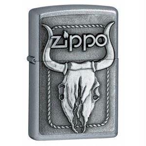 Zippo Lighter Bull Skull Emblem, Street Chrome Sports