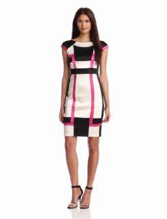 Jax Womens Satin Colorblock Dress: Clothing