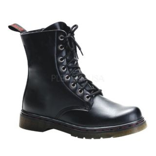 shoes display on website 8 eyelet ankle combat boot black faux leather