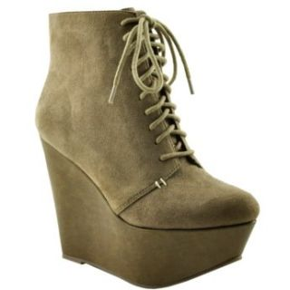 Wild Pair Womens Brandi Wp Wedge Boot Taupe Suede 5 Shoes