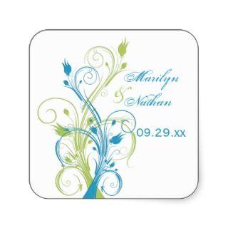Blue Green White Floral 1.5 Wedding Sticker