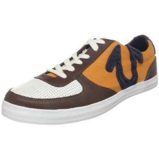 True Religion Mens Ace Low Sneaker,White/Brown/Orange,13 M US Shoes