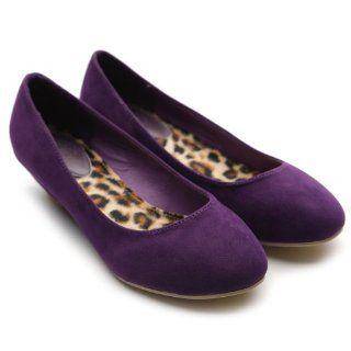Womens Ballet Flats Loafers Faux Suede Low Heel Purple Shoes Shoes