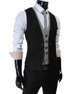 (VE34) TheLees Mens premium layered style slim vest waist