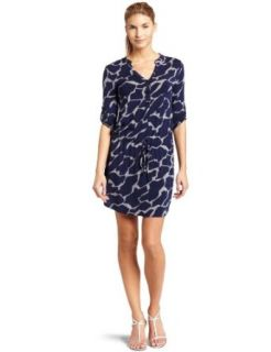 Three Dots Womens Safari Print Drawstring Shirt Dress