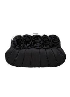 Davids Bridal Satin 5 Rose Clutch Style CORSAGE, Black