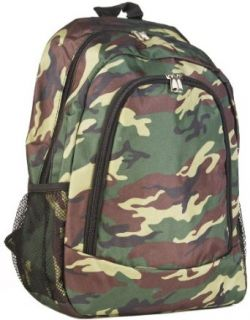 Green Camouflage Canvas School Backpack Bag Clothing