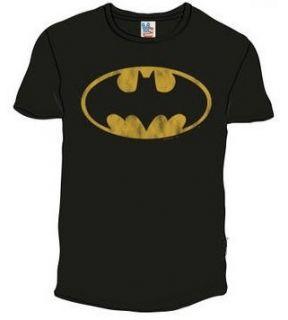 Junk Food Batman Distressed Logo Black Adult T shirt