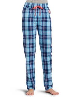 Diesel Womens Rani Long Pant, Blue/Pink Plaid, Large