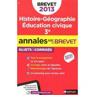JEUNESSE ADOLESCENT Annales brevet 2013 histoire/geographie/educati