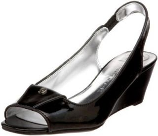 Etienne Aigner Womens Gild Wedge Pump,Black,6 M US Shoes