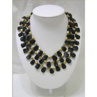 Anna Janssen Black Jet & Gold Triple Stand Necklace (20L