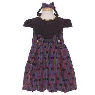 Purple Plaid Black Flocked Bow Gold Trim Christmas Dress