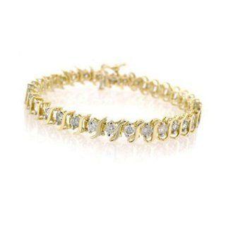 10K Yellow Gold Diamond S Link Tennis Bracelet (1cttw, J K