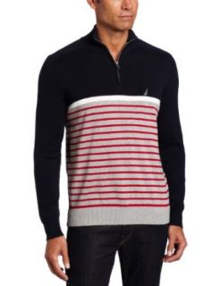 Nautica Mens Engineered One Fourth Zip Sweater Clothing