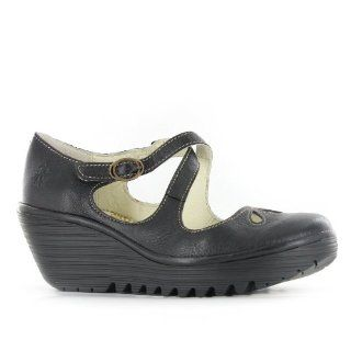Fly London Yate Black Leather Womens Shoes Shoes
