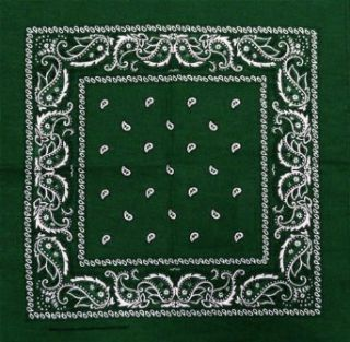 Bandanas   Forest Green Paisley Bandana #5 Clothing