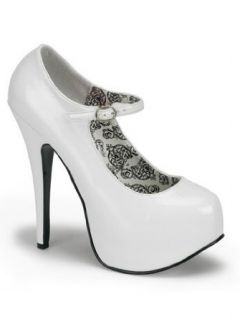 White Mary Jane High Heel Platform Pump   7 Clothing