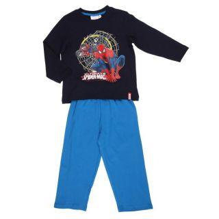 Coloris  Bleu   Pyjama long garçon 2 pièces   T shirt marine et