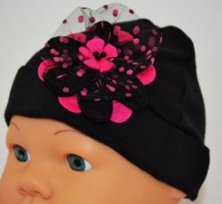 Adelle Felt Flower Baby Hat (Hot Pink & Black) Clothing