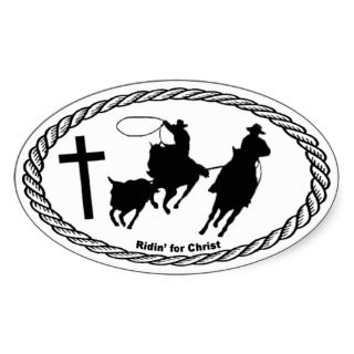 Team Roping Cross Euro Style Oval Stickers
