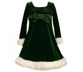 Bonnie Jean Girls Green Velvet Sparkling Santa Dress with