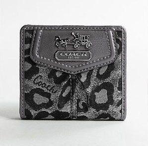 Coach Madison Lurex Leopard Small Wallet Black Multi Shoes