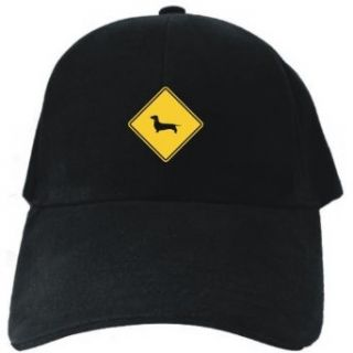 SIGN Dachshund   CROSSING SIGN Black Baseball Cap Unisex