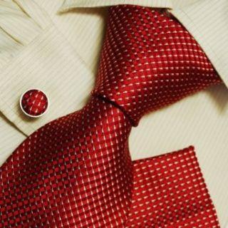 Red checkers mens neck ties gift ideas man handmade silk