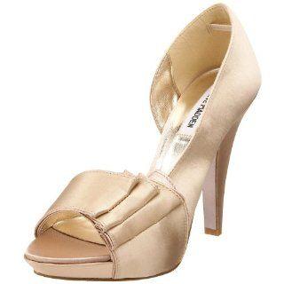 Steve Madden Womens Rebecaa Pump,Champagne Satin,5 M US Shoes