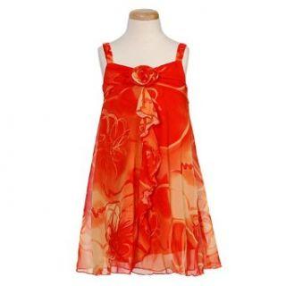 Bonnie Jean Little Girl Orange Organza Tropical Dress 6