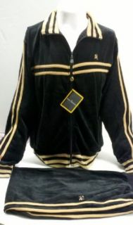 New Mens Stacy Adams Black Velour Jogging Track Suit with