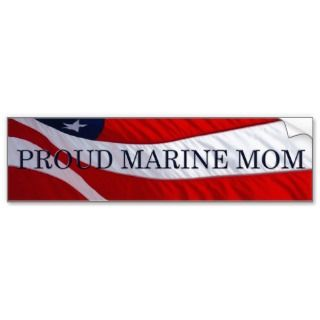 Marine Mom American Flag Bumper Sticker