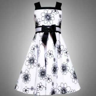 Size 7 RRE 53072E WHITE BLACK Textured Floral Embroidered