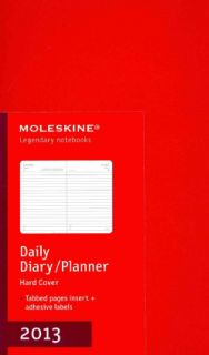 Red Large Daily Diary / Planner 2013 Calendar