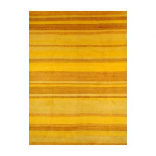 Hand knotted Yellow/ Gold Wool Rug (84 x 111)