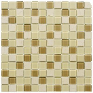 SomerTile 11.5x11.5 inch Chroma Square Olea Glass and Stone Mosaic