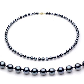 DaVonna 14k Gold Black Akoya Pearl High Luster 16 inch Necklace (7.5 8