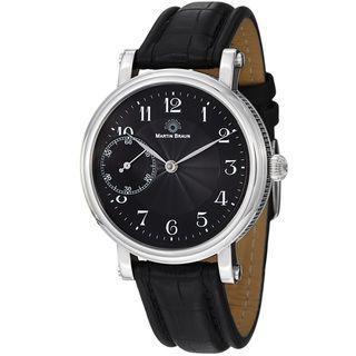 Martin Braun Mens Grande Black Dial Black Leather Strap Watch