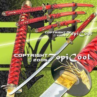 Red 4 Pcs Orchid Bushido Last Samurai Katana Sword Set