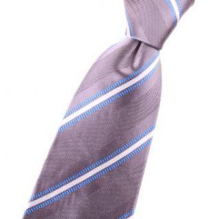 Silk neck tie with blue, silver, grey, gray, striped